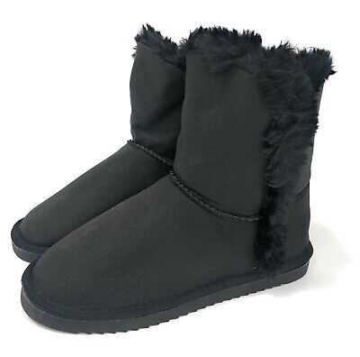 Girls Womens School Snug Warm Winter Ankle Faux Fur Black Shoes Boots Sz 13-5