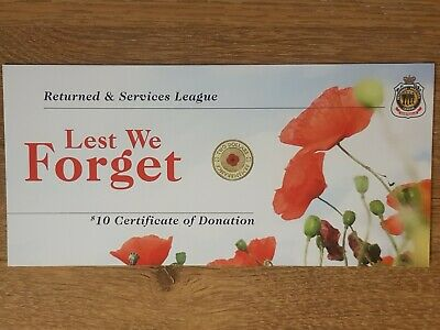 RSL Certificate Card Only - For 2012 $2 Dollar Remembrance Red Poppy Coin