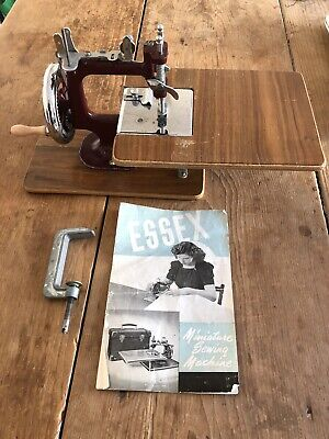 Vintage Berry Red 1955 Essex miniture Sewing Machine