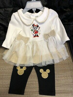 Disney Store Baby Girl Minnie Mouse Holiday Outfit 0-3 Mths - Brand New W/ Tag