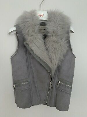 Girls River Island Age 7 Years Biker Style Gilet Grey Faux Suede Faux Fur