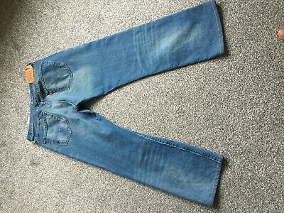 """Levi 501 Mens Blue Jeans 34 Inch Waist 34"""" Button Fly Distressed Finish"""