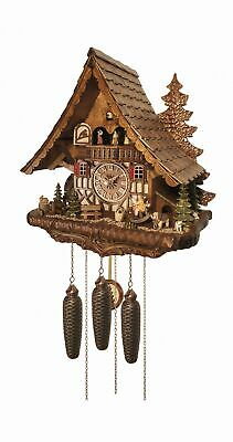 Cuckoo Clock  Big Black Forest house with mill wheel, music a.. EN 4995/8 MT NEW