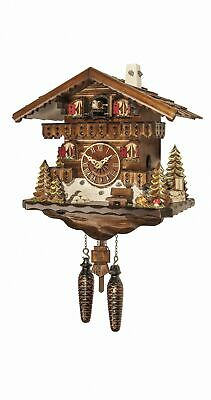Quartz Cuckoo Clock Black forest house with music EN 458 QM NEW