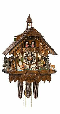 Cuckoo Clock Black Forest house with moving wanderer, turning mi.. HO 86752T NEW