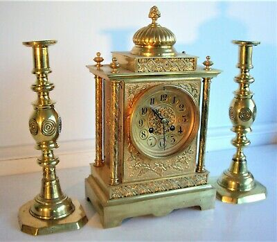 French Bronze Ormolu Garniture Mantel Clock