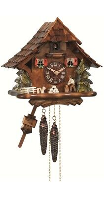 Cuckoo Clock Black Forest house with moving wood chopper EN 492 NEW