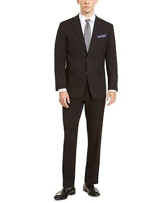 $395 Perry Ellis Men's Slim-Fit Stretch Black Dobby Suit 48S / 43 x 30