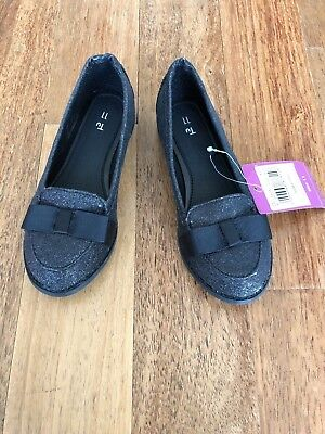 Sainsbury's Tu girl's black sparkle shoes, size 11, brand new with tags