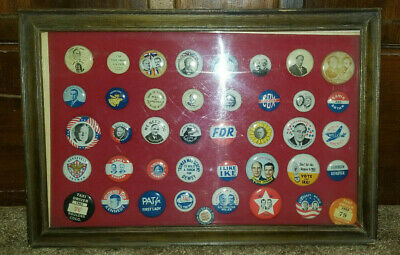 Framed Collection of Vintage Presidential Pins & Others