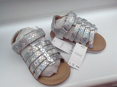 NEW Next Silver Iridescent Fisherman Sandals SUMMER Girl Size UK 4 infant RRP£16