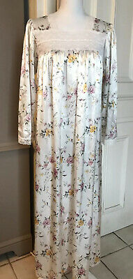 VINTAGE Christian Dior Floral Long Nightgown Lace Rose Size M/L 60/70's Poly