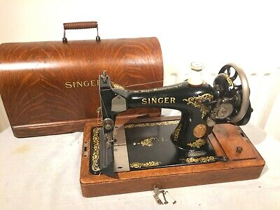 Antique 1923 Singer 128K Handcrank Sewing machine with Rococo decals