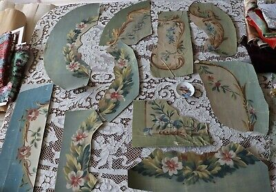 11 Antique 19thC Hand Painted French Gouache Aubusson Style Tapestry Design