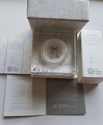 Beatrix potter Tom Kitten 50p Silver Proof Coin Limited Edition,,