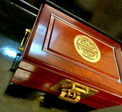 TOP QUALITY 9 X 4 INCH Vintage Chinese Rosewood Jewelry Box Longevity Brass