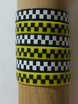 JOB LOT (S) - 12mm WRISTBANDS, CHECK PATTERN, BLACK, WHITE, YELLOW (pack of 6)