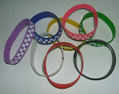 JOB LOT (N) - 12mm WRISTBANDS, CHECK PATTERN, MIXED COLOURS (pack of 8)