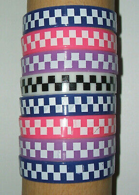 JOB LOT (Q) - 12mm WRISTBANDS, CHECK PATTERN, MIXED COLOURS (pack of 8)