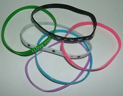 JOB LOT (F) - 5mm WRISTBANDS, MIXED COLOURS, PATTERNS, HEART, PEACE (pack of 6)