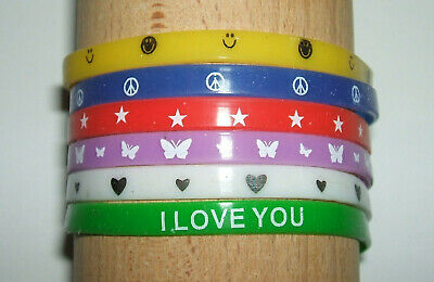 JOB LOT (H) - 5mm WRISTBANDS, MIXED COLOURS, PATTERNS, HEART, PEACE (pack of 6)