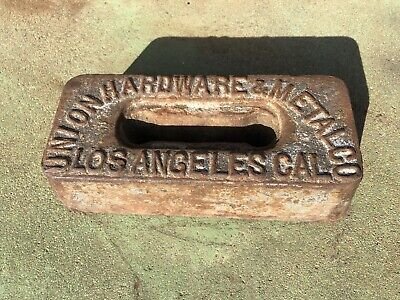 Antique UNION HARDWARE & METAL CO ~ IRON Advertising Base Sign Los Angeles