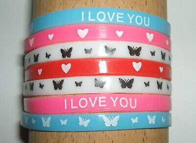 JOB LOT (J) - 5mm WRISTBANDS, MIXED COLOURS, PATTERNS, HEART, LOVE (pack of 7)