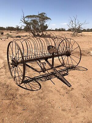 Antique Horse-drawn Steel Rake, Easy to move, leverages up & down