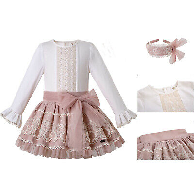 Spanish Kids Girls Lace Pink Wedding Party Outfit Long Sleeve Blouse Top Skirt