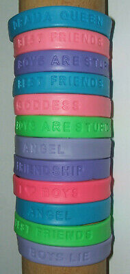 JOB LOT (M) - 12mm WRISTBANDS, DRAMA QUEEN, GODDESS, FRIENDS -  (pack of 19)