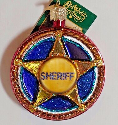 Blown glass Old World Sheriff Badge Police   Christmas Ornament New