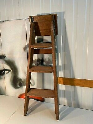 Vintage Australian Folding Hardwood Timber & Metal Step Display Ladder 90cm