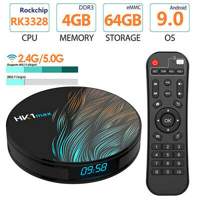 HK1 Max Wifi Set Top TV Box Quad Core 4GB+64GB UHD Media Player For Android 9.0