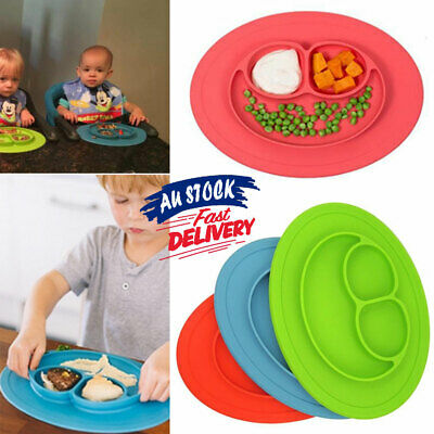 Silicone Suction Tray Happy Cute Bowl Kids Food Placemat Baby Table Mat Plate