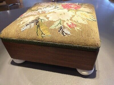 ANTIQUE victorian hand embroidered tapestry glass bead SMALL stool  MAHOGANY
