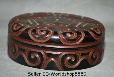 "8.2"" Marked Antique China Red Lacquerware Dynasty Flower Round Jewelry box Boxes"