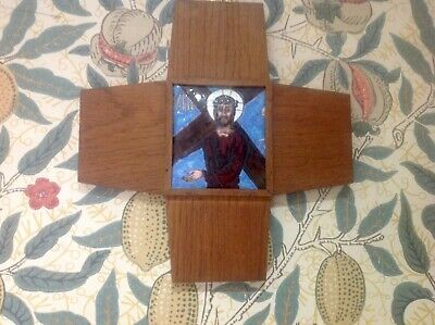 Antique Enamelled Arts & Crafts Style Stations Of The Cross Cross Wall Plaque,8.