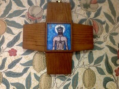 Antique Enamelled Arts & Crafts Style Stations Of The Cross Cross Wall Plaque,10