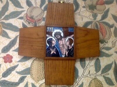 Antique Enamelled Arts & Crafts Style Stations Of The Cross Cross Wall Plaque,12