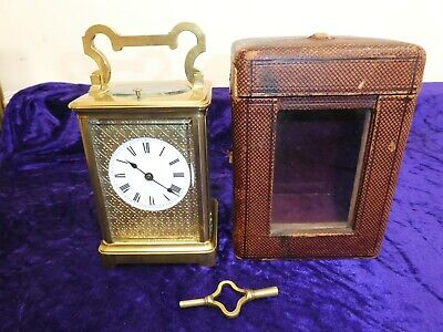 Superb Antique Large Repeater Carriage Clock In Carry Case FWO w/ Original Key