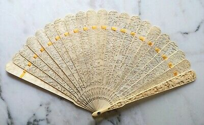 Eventail sculpté de canton. Chine, dynastie Qing XIXe, 19th Carved chinese fan 2
