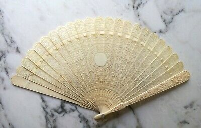 Eventail sculpté de canton. Chine, dynastie Qing XIXe, 19th Carved chinese fan 3