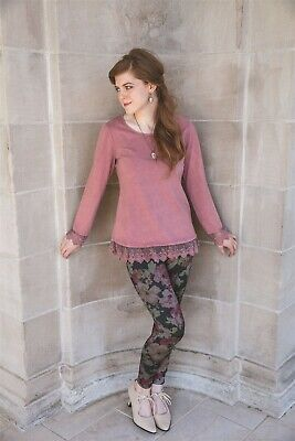 Victorian Trading Co April Cornell Layla's Lacy T-shirt Mauve Pink SM