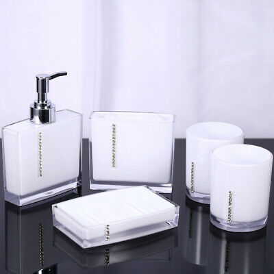 5Pcs/set Home Bathroom Bath Accessories Cup Toothbrush Holder Soap Dish Acrylic