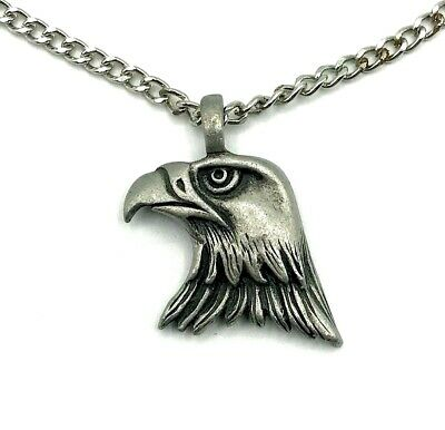 pendant 36mm x 20mm Chain Necklace #151 Pewter EAGLE
