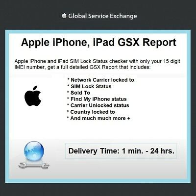 Official Apple GSX Report for iPhone and iPadSIM Lock Status Carrier Check Imei
