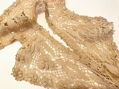Antique Dark Cream Lace Dress Collar