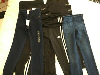 LOT 10 Pairs Of Leggings Youth Girls Size 8 Justice, Adidas, Cat & Jack Jeggings