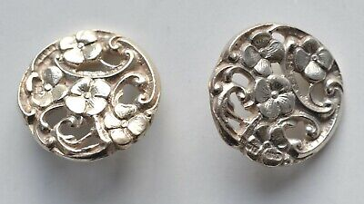Set of Two Vintage Art Nouveau Hallmarked Silver Buttons with Floral Design 1903
