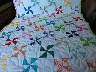 Multiple Color Pinwheel Baby Crib Lap Quilt Handmade Pieced Boy Girl Blanket